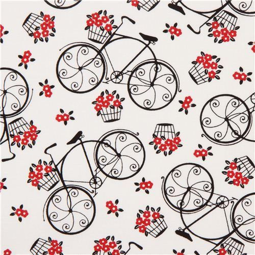 white romantic bike fabric by Timeless Treasures: