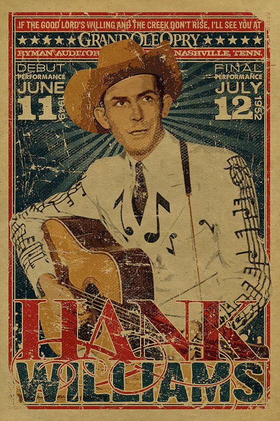 Hank Williams Sr poster. Grand Ole Opry. Ryman Auditorium