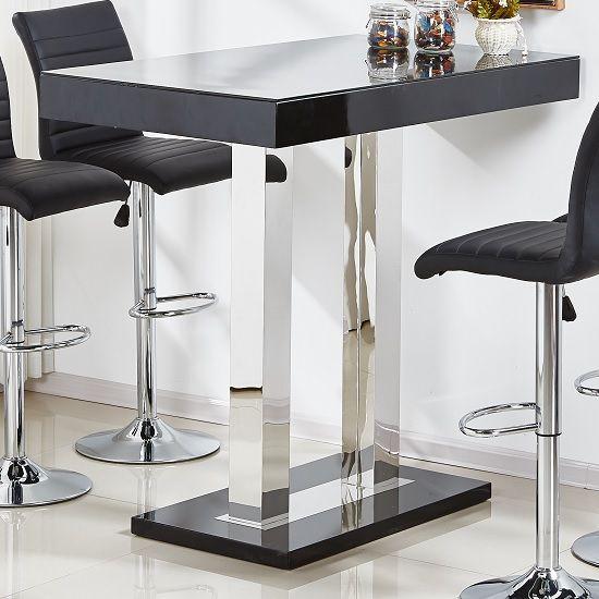 Caprice Glass Bar Table In Black High Gloss And Stainless Steel Glass Bar Table Bar Table Glass Bar