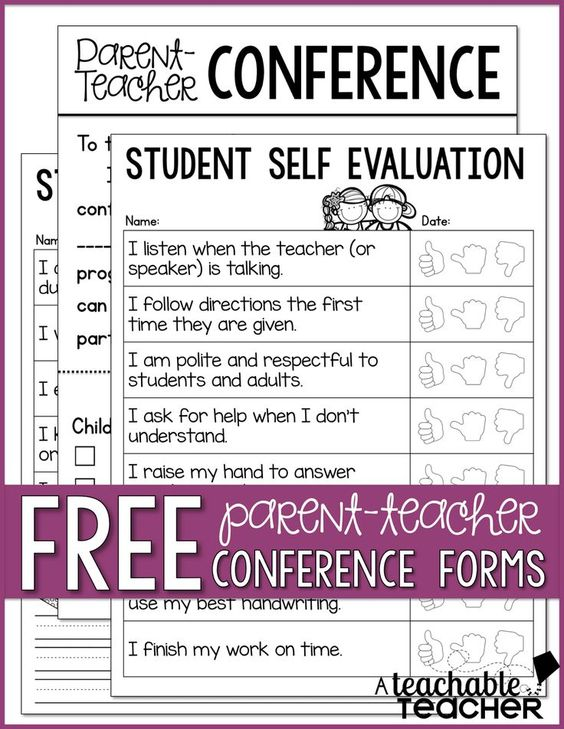 Parent-Teacher Conference Tips and Freebies Linky Party (A - self evaluation