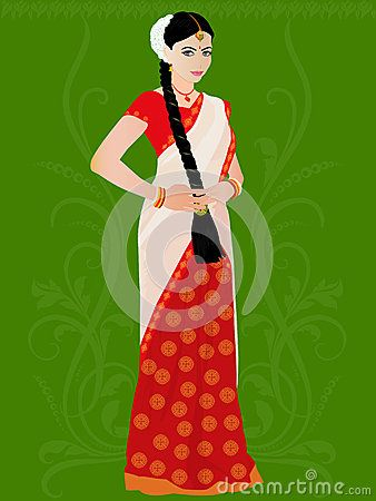 Illustration of smiling Telugu girl in traditional South Indian dress and green faintly decorated background
