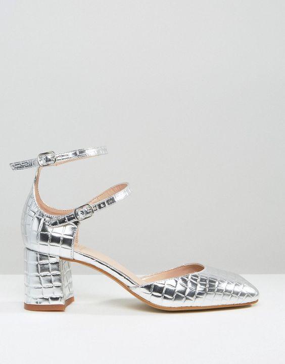 Image 2 - KG By Kurt Geiger - Dolly - Chaussures à talon moyen effet croco - Argenté
