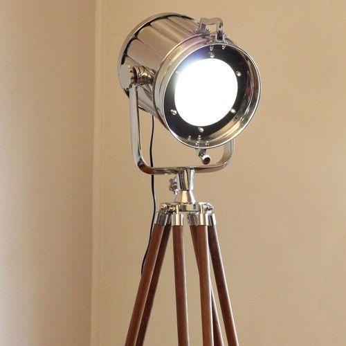 Chrome vintage industrial tripod floor lamp nautical spot for Tripod spotlight floor lamp india