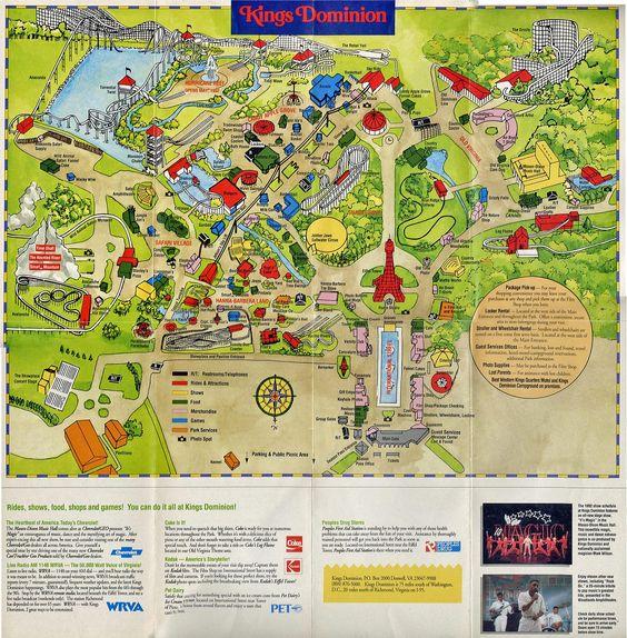 Kings Dominion  1992  Theme Park Maps  Pinterest