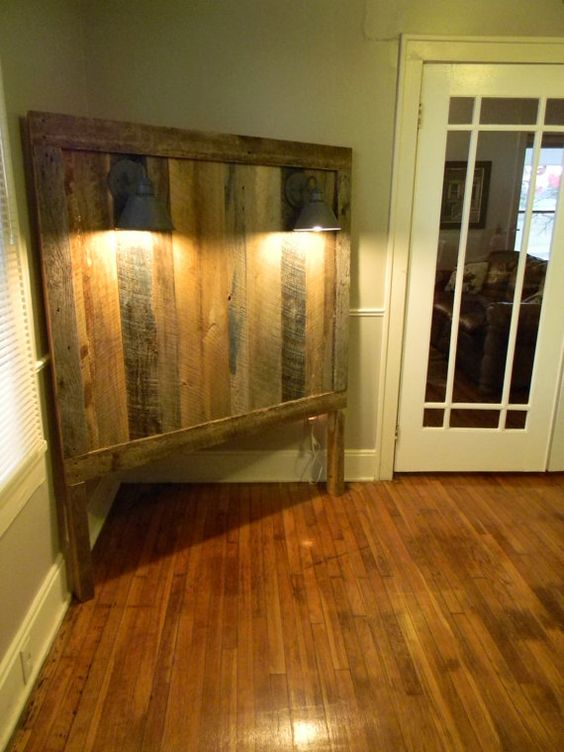 Full barnwood headboard w lighting gage collection by for Rustic headboard with lights