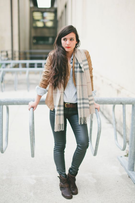 Abbey in a casual fall look wearing a leather jacket- leather ...