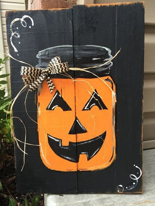 Happy Fall Y'all Pumpkin Frankenstein Wood Pallet Hands Coming out of the…