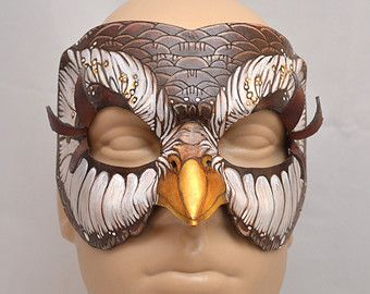 Leather Brown Owl Woodland Fantasy Cosplay Mask