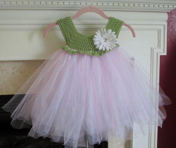Free Crochet Tulle Dress Pattern : Little Crochet and Tulle Dress! crochet stuff ...