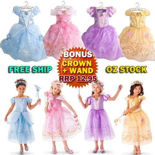 Girls/' Clothing Princess Belle Cinderella Kids Costume Party Dress Up Fairytale