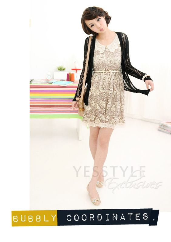 YESSTYLE: 59 Seconds- Crochet-Collar Lace Dress (Belt not Included) (Dark Beige - One Size) - Free International Shipping on orders over $150