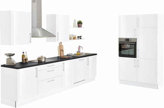 set one by Musterring Küchenzeile mit E-Geräten weiß, »Navaro - küchenzeile 220 cm mit elektrogeräten