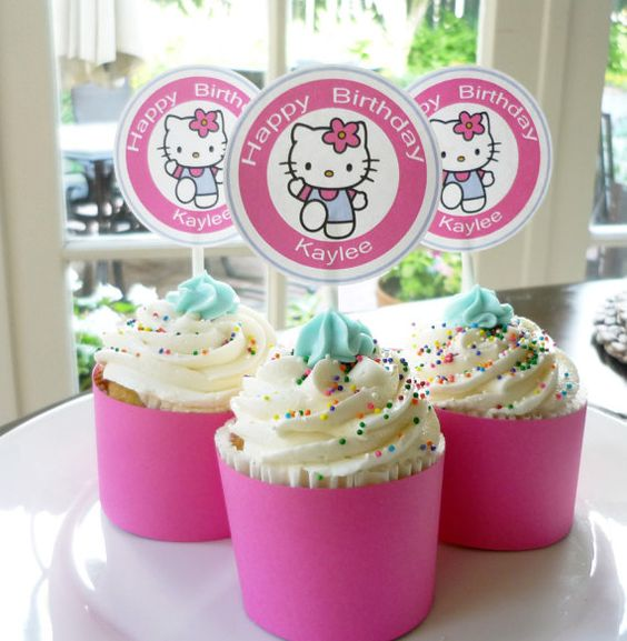 Hello Kitty Cupcake Topper Favor Tag Printable by ThatPartyChick, $7.00