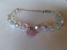 (nep) diamanten kralen armband met hart bedeltje
