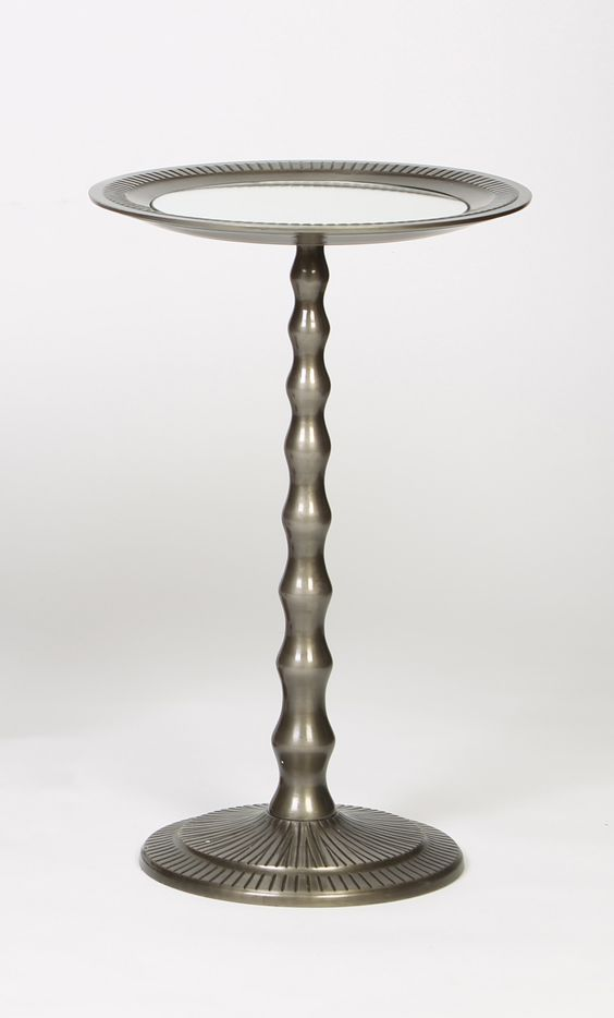 Turned and Tapered Metal Accent Table with Grooved Texture in Aged Nickel Finish