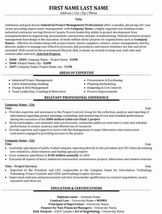 Construction Management Resume Objective New Top Project Management Resume Templates Samples Project Manager Resume Manager Resume Resume