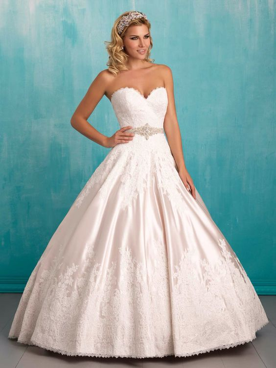 Lush satin composes the full skirt of this strapless ballgown, edged in lace and finished with a sweetheart neckline. Marry & Tux Bridal, Marry & Tux Bridal Shoppe, Marry & Tux Nashua, NH, Marry & Tux, Marry and Tux