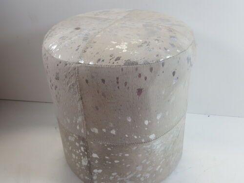 16 x 17 Silver 16 x 17 Deco 79 95946 Wood Leather Hide Ottoman