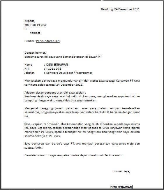 Contoh Surat Pengunduran Diri Resign Kerja Yang Baik Dan Benar Surat Pendiri Guru