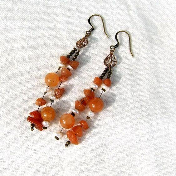 Soft orange adventurine womens earrings with antique by Mouflon, €25.00