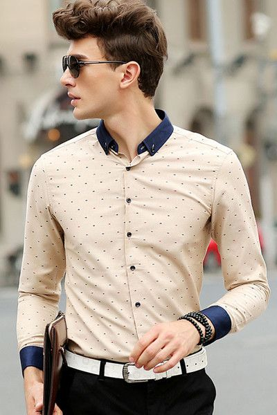 Modern Series Beige / White Men Polka Dot Shirt