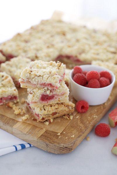 Raspberry Rhubarb Crumb Bars | BourbonAndHoney.com  #Rhubarb #Raspberry #Bars #Dessert #Recipe #Crumble #Fruit #Berries