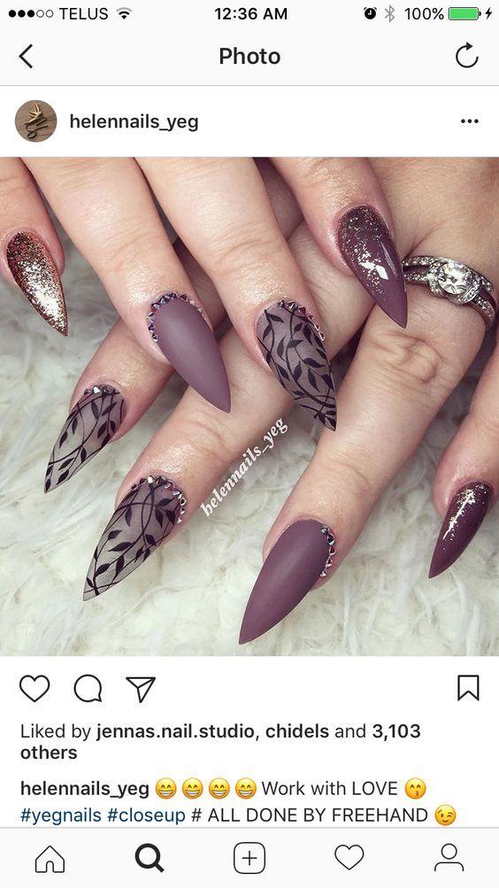 54 Autumn Fall Nail Colors Ideas You Will Love Koees Blog Stiletto Nails Designs Nail Designs Cute Nails