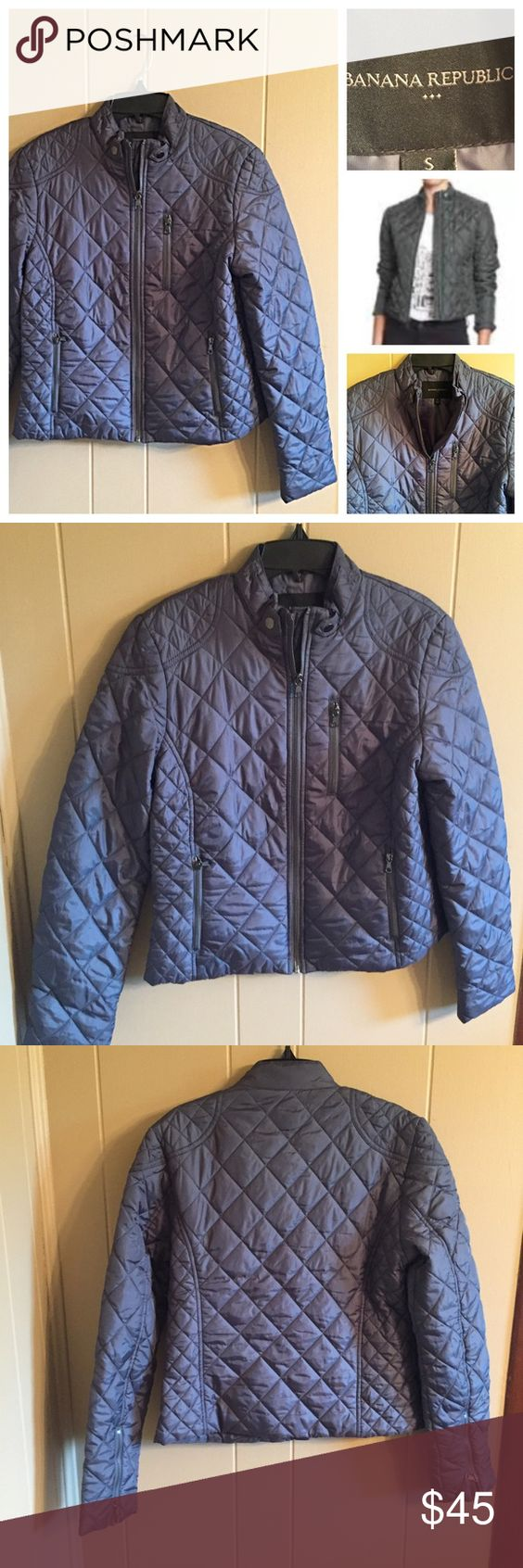 Banana Republic quilted jacket in petrol blue Beautiful quilted jacket. The color is petrol blue (bluish gray) size small in new condition. Excellent quality. Banana Republic Jackets & Coats