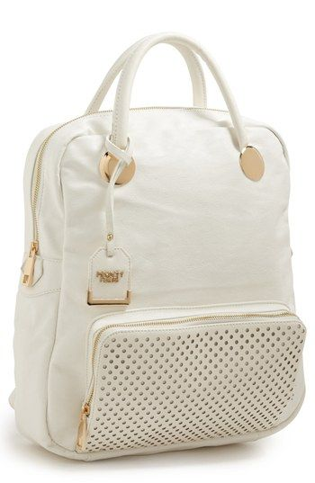 $78, Perforated Trim Faux Leather Backpack White by POVERTY FLATS by rian. Sold by Nordstrom.