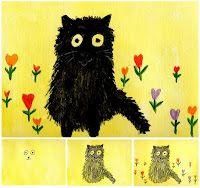 Folk art black cat