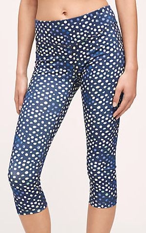 blue dotted workout pants
