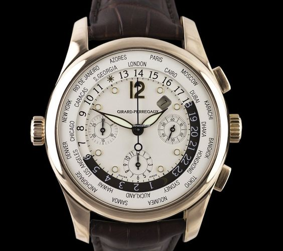 Girard Perregaux WWTC 18K Rose Gold Mens $20,165 #GirardPerregaux #watch #watches #luxury #style #chronograph pink gold case with crocodile skin bracelet and automatic movement