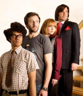 Richard Ayoade, Chris O'Dowd, Katherine Parkinson, and Matt Berry as Moss, Roy, Jen, and Douglas on The IT Crowd!