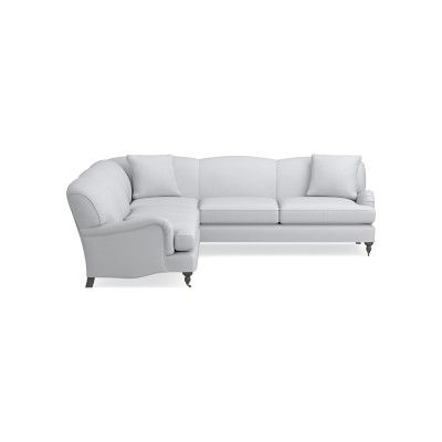 Bedford Sectional Left 2 Piece L Shape Sofa Standard Cushion Brushed Canvas White Grey Leg In 2020 L Shaped Sofa Sectional Sofa Sofa