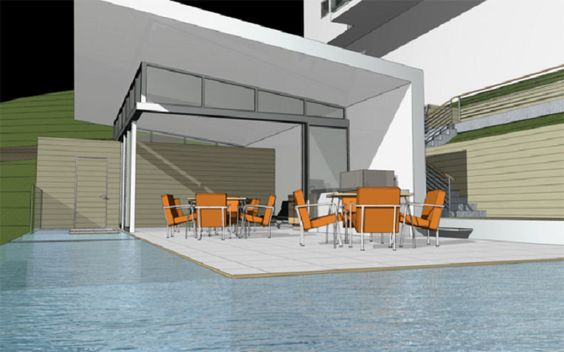 Pool House Designs for the Family Members : Modern Pool House Designs Plans With Contemporary Home Decoration