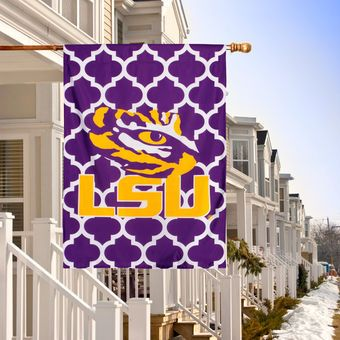 "LSU Tigers Double-Sided 28"" x 40"" Quatrefoil Fashion House Flag:"