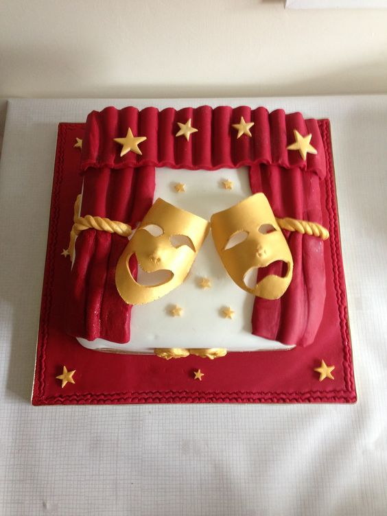 Theatre - comedy/tragedy mask cake | Carnaval | Pinterest