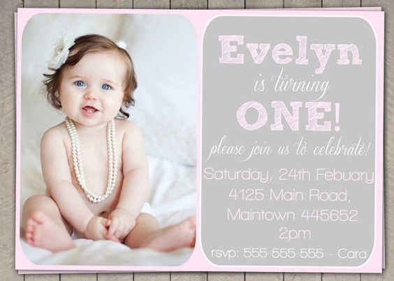 Pink Girls 1st Birthday Invitation / Printable Download / First ...