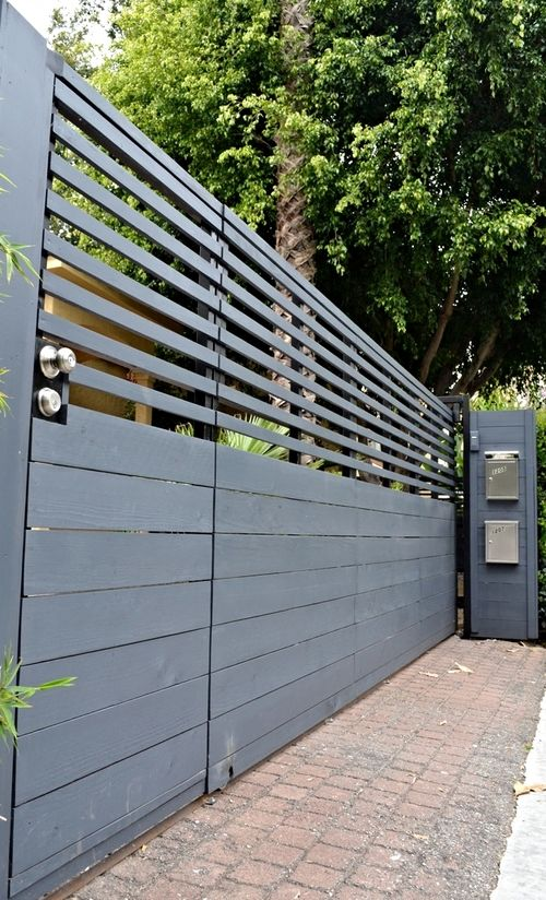 Built In Pedestrian Gate Sliding 6 Ft X 17 Ft Fence Design Modern Fence Design Driveway Gate