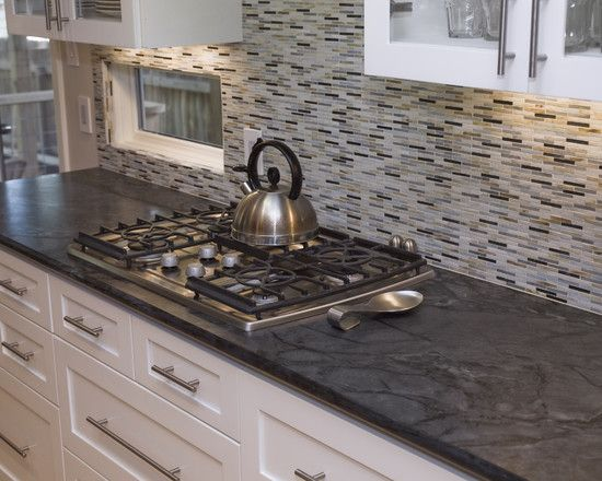 Island Pictures: Interesting Soapstone Tile Countertop With Gas Stove ...