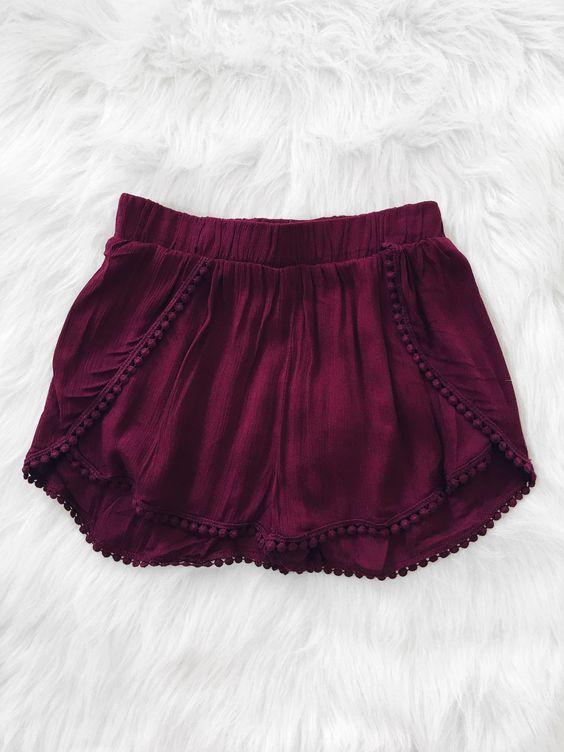 Pom Pom Hem Shorts (Burgundy)