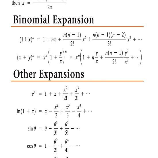 Quadratic Formula Binomial Expansion Other Expansions