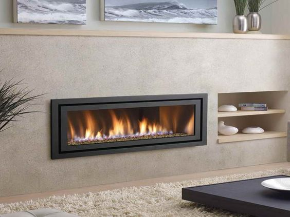 Modern ventless gas fireplace with white soft carpet for Ventless fireplace modern