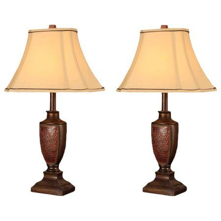 Aubri Table Lamp Set Brush Red Body Light Brown Fabric Square Shade Contemporary Set Of 2 Walmart Com Shabby Chic Furniture Shabby Chic Room Traditional Table Lamps
