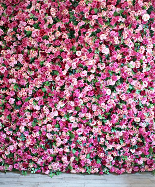 Chic Floral Wedding Stage Backdrop 8x6.5ft Polyester Pink Rose Flowers Green Wall Background Wedding Ceremony Photo Booth Bridal Shower Banner Bride Portrait Shoot Event Activities