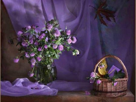 Basket of Purple - flowers, purple, soft, basket, vase, nature