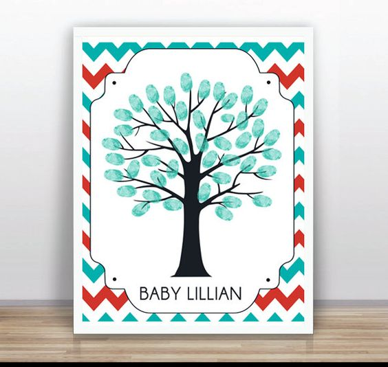 Little Man Thumbprint Tree Guest Book Poster PDF  by ByYolanda