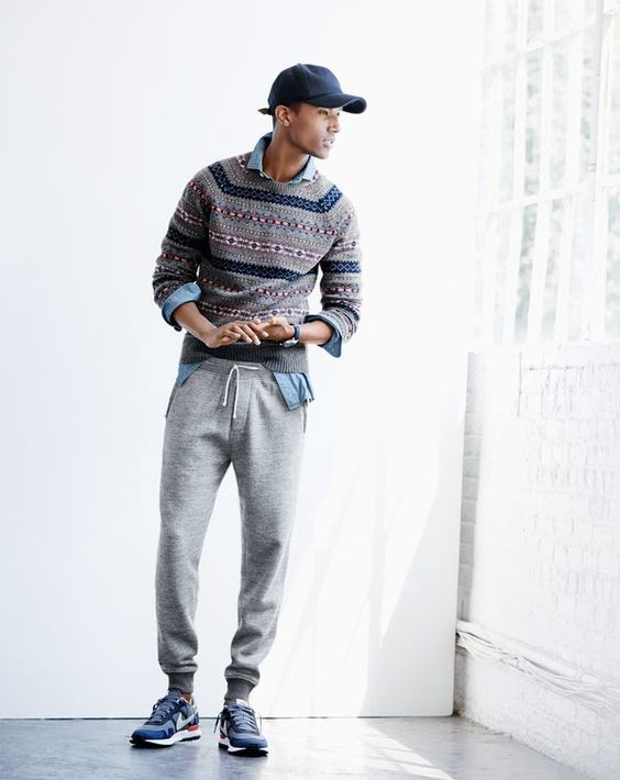 NOV '15 Style Guide: J.Crew men's Fair Isle sweater in grey, slim indigo Japanese chambray shirt, slim classic sweatpant, baseball cap and Nike® Air Pegasus 83/30 sneakers.