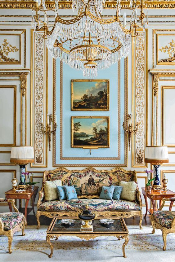 Classical French Room With Tapestry Covered French Sofa Classic