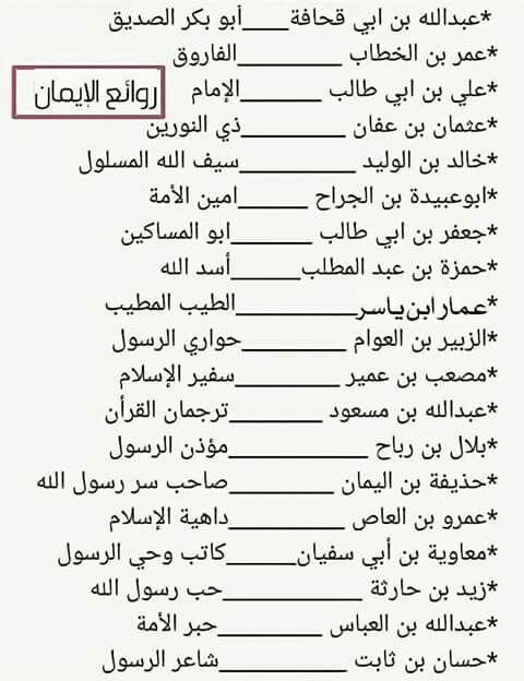 ألقاب بعض الصحابة رضوان الله عليهم Islam Facts Islam Beliefs Learn Islam